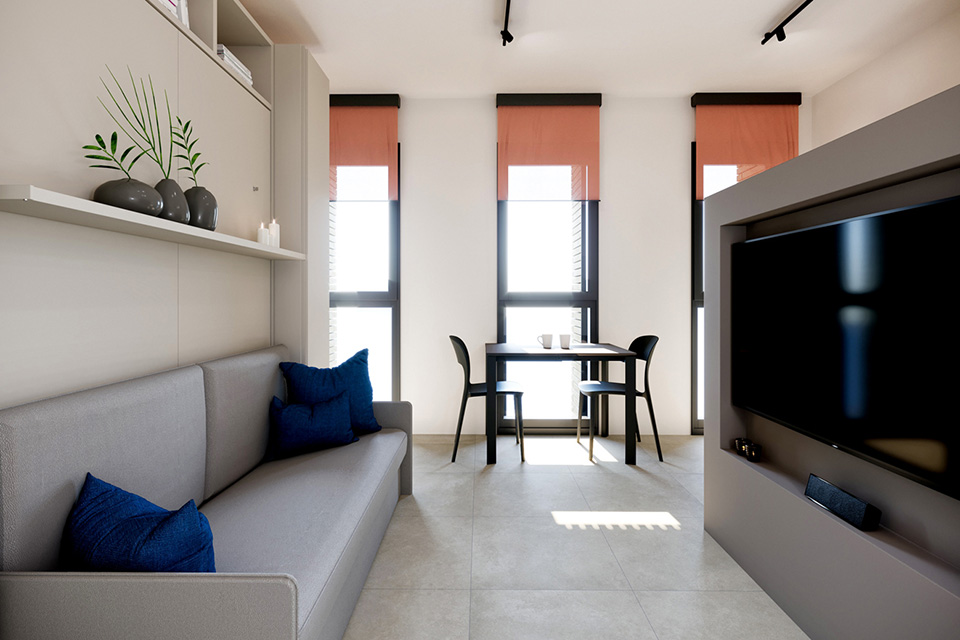 Furnished 1.5 rooms apartments in new building in the heart of Lugano